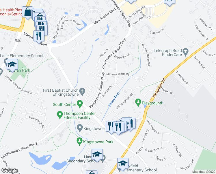 map of restaurants, bars, coffee shops, grocery stores, and more near 7321 Castleberg Court in Alexandria