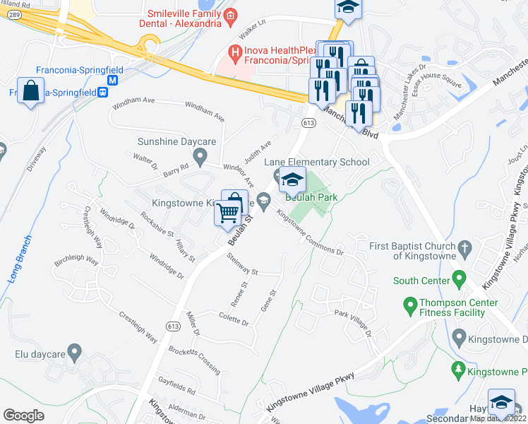 map of restaurants, bars, coffee shops, grocery stores, and more near 6213 Abbottsbury Row in Alexandria