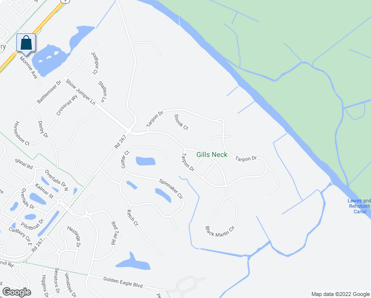 map of restaurants, bars, coffee shops, grocery stores, and more near 2-6 Black Marlin Drive in Lewes