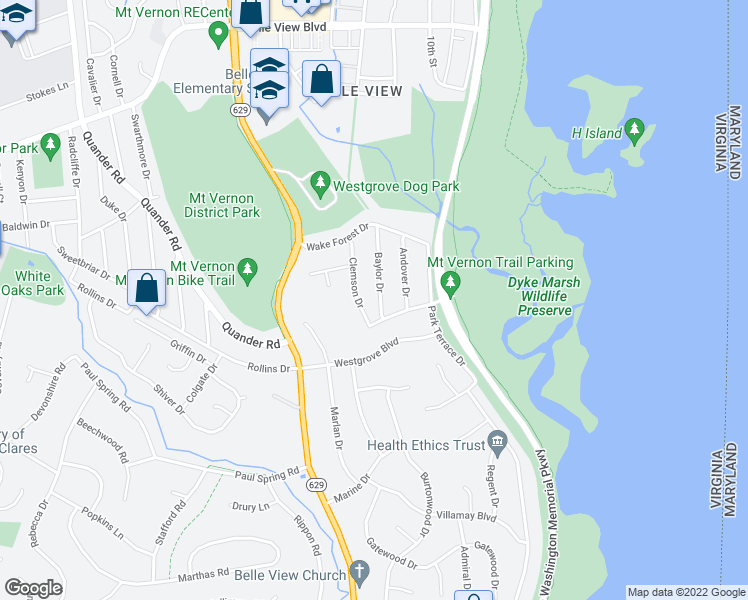 map of restaurants, bars, coffee shops, grocery stores, and more near 6918 Baylor Drive in Alexandria