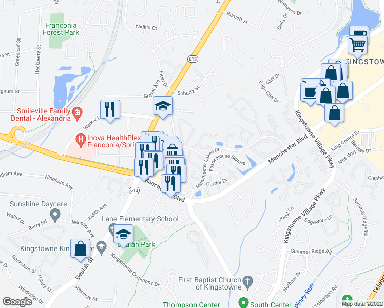map of restaurants, bars, coffee shops, grocery stores, and more near 6965 Old Brentford Road in Alexandria