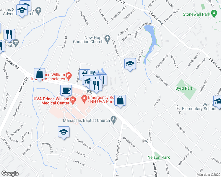 map of restaurants, bars, coffee shops, grocery stores, and more near Forum Way in Manassas