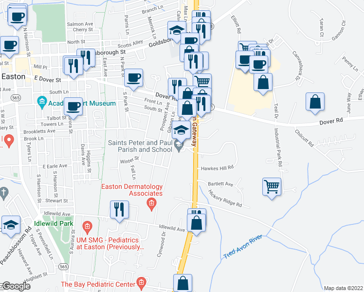 map of restaurants, bars, coffee shops, grocery stores, and more near 900 High Street in Easton