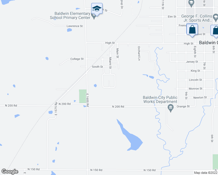 map of restaurants, bars, coffee shops, grocery stores, and more near Mustang Drive in Baldwin City