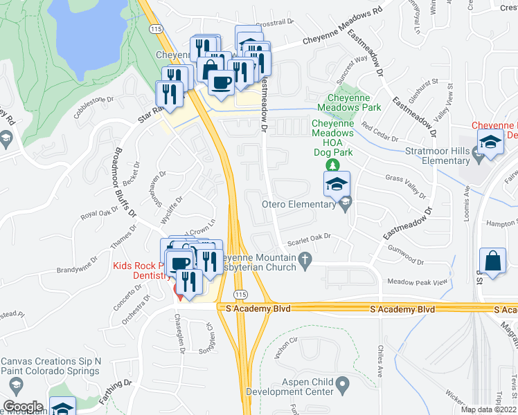 map of restaurants, bars, coffee shops, grocery stores, and more near 4125 Pebble Ridge Circle in Colorado Springs