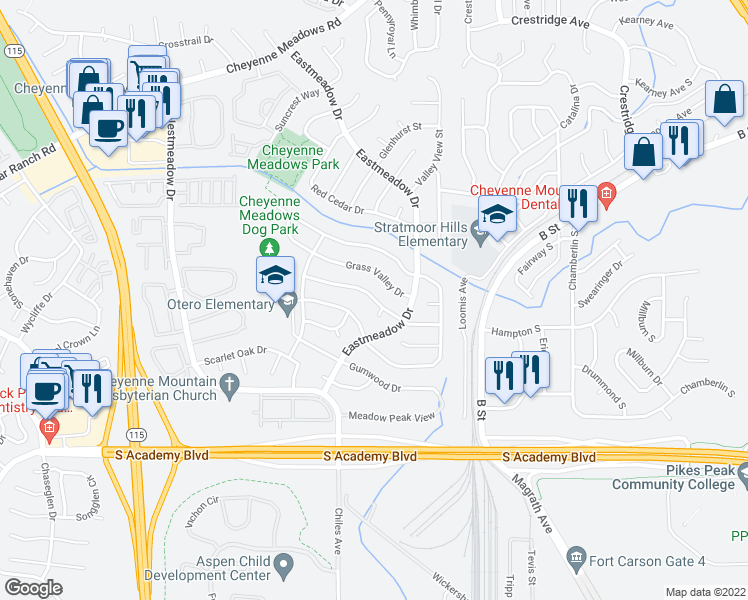 map of restaurants, bars, coffee shops, grocery stores, and more near Coolcrest Drive in Colorado Springs