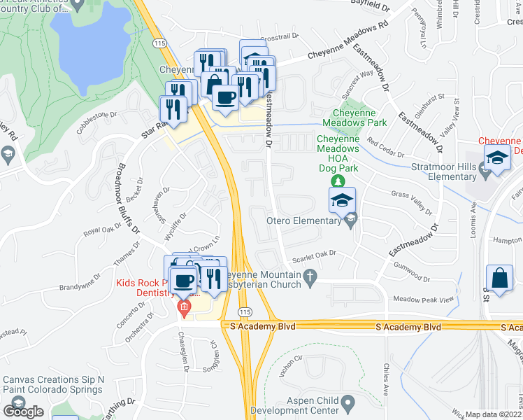 map of restaurants, bars, coffee shops, grocery stores, and more near 4024 Westmeadow Drive in Colorado Springs
