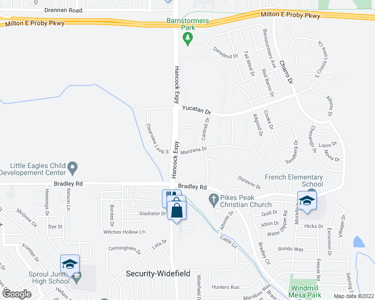 map of restaurants, bars, coffee shops, grocery stores, and more near 4801-4823 Manzana Drive in Colorado Springs