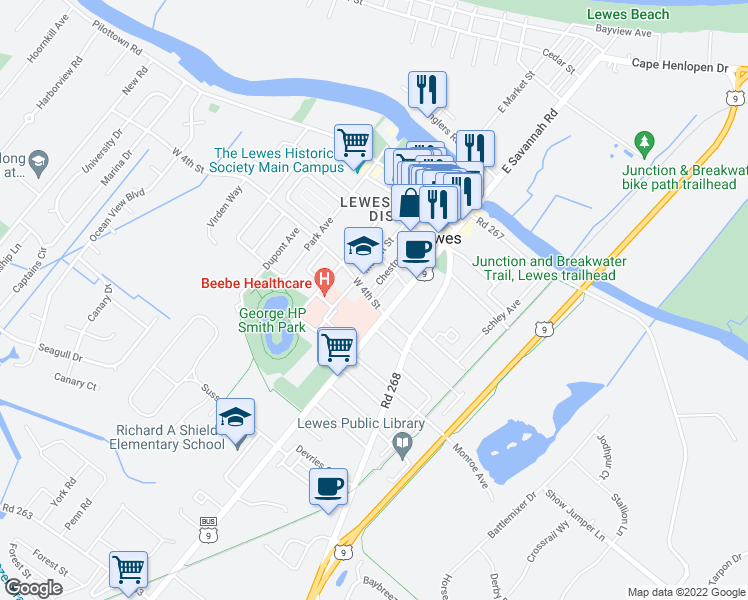 map of restaurants, bars, coffee shops, grocery stores, and more near 424 Savannah Road in Lewes