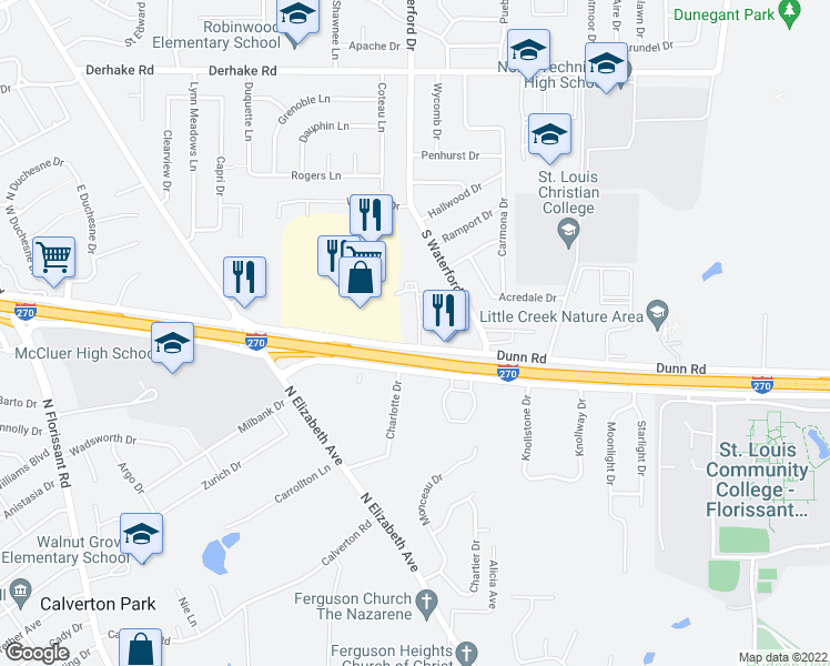 map of restaurants, bars, coffee shops, grocery stores, and more near 1456 Stonebury Court in Florissant