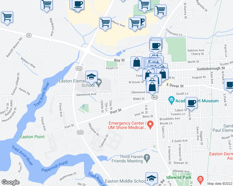 map of restaurants, bars, coffee shops, grocery stores, and more near 231 Glenwood Avenue in Easton