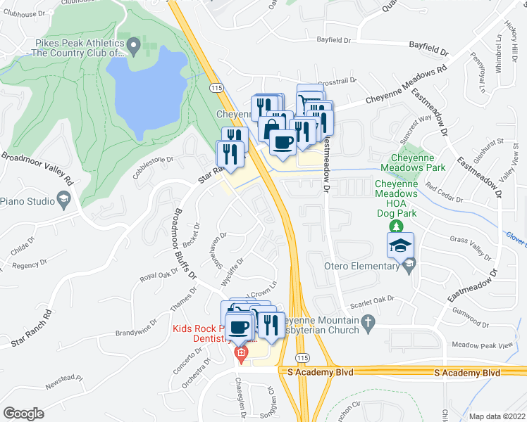 map of restaurants, bars, coffee shops, grocery stores, and more near 640 Wycliffe Drive in Colorado Springs