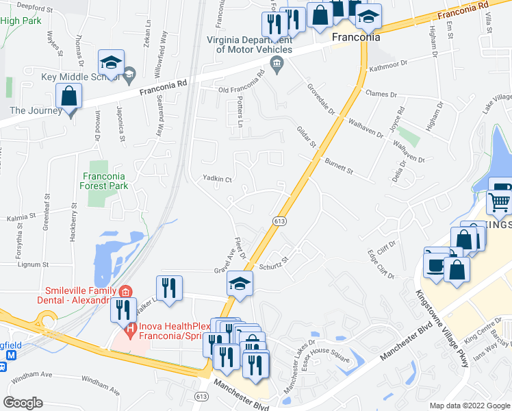 map of restaurants, bars, coffee shops, grocery stores, and more near 6644 Elk Park Court in Alexandria