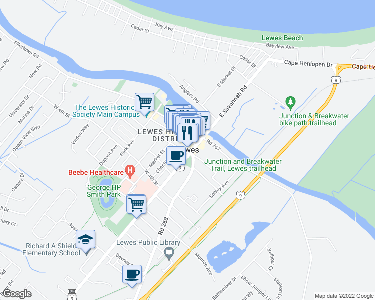 map of restaurants, bars, coffee shops, grocery stores, and more near in Lewes