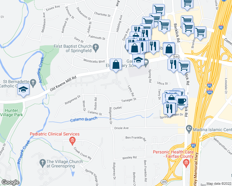 map of restaurants, bars, coffee shops, grocery stores, and more near 6548 Lee Valley Drive in Springfield