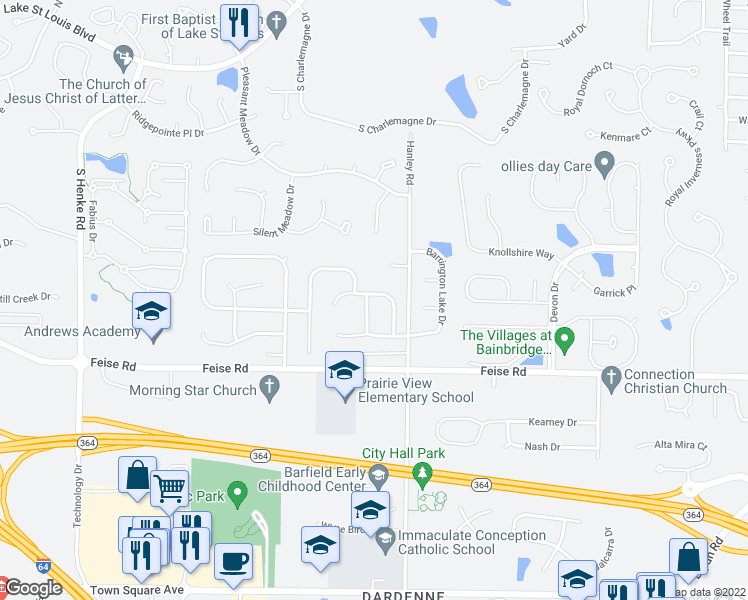 map of restaurants, bars, coffee shops, grocery stores, and more near 810 Tyler Ridge Drive in O'Fallon