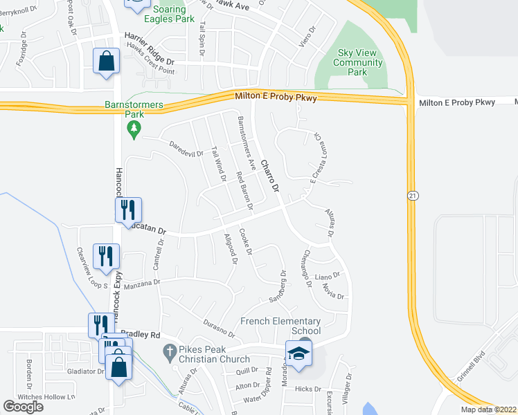 map of restaurants, bars, coffee shops, grocery stores, and more near 5113 Barnstormers Avenue in Colorado Springs