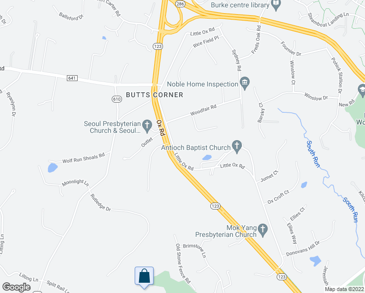 map of restaurants, bars, coffee shops, grocery stores, and more near 6439 Little Ox Road in Fairfax Station