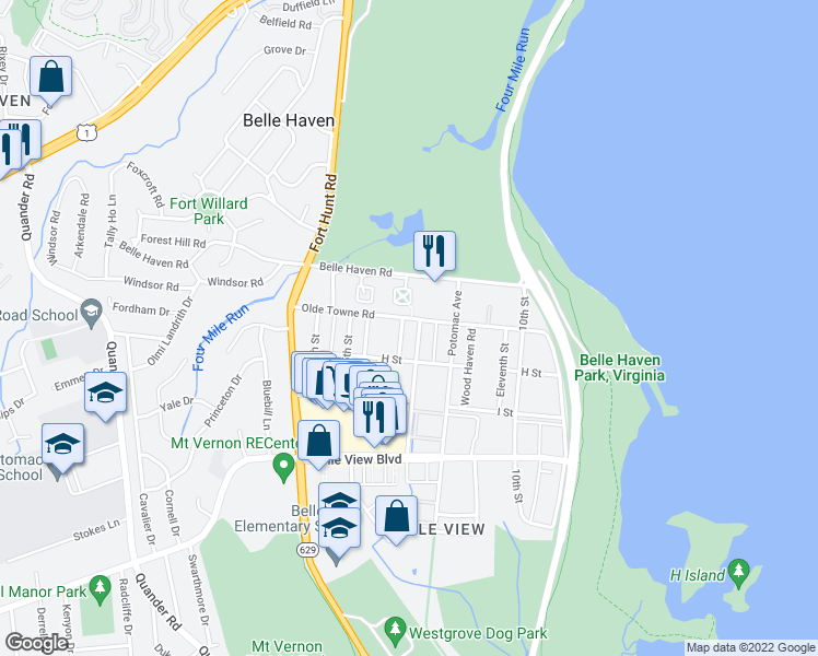 map of restaurants, bars, coffee shops, grocery stores, and more near 6402 13th Street in Alexandria