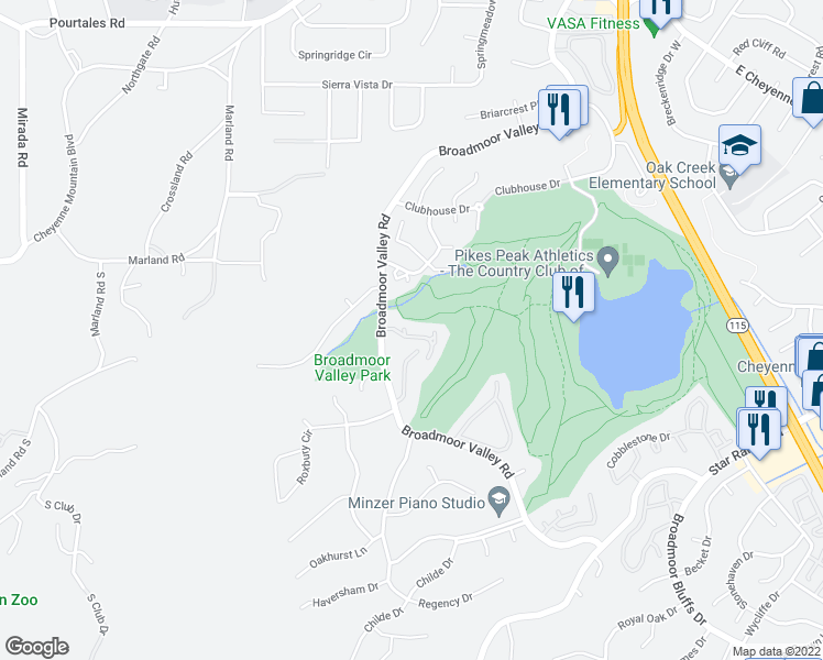 map of restaurants, bars, coffee shops, grocery stores, and more near 324 Blue Windsor Lane in Colorado Springs