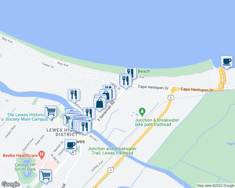 map of restaurants, bars, coffee shops, grocery stores, and more near 308 East Savannah Road in Lewes