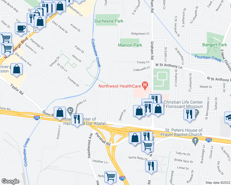 map of restaurants, bars, coffee shops, grocery stores, and more near 8776 Sieloff Drive in Hazelwood