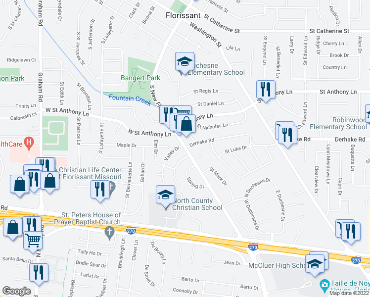 map of restaurants, bars, coffee shops, grocery stores, and more near Derhake Rd & S New Florissant Rd in Florissant