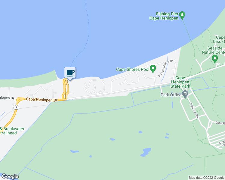 map of restaurants, bars, coffee shops, grocery stores, and more near 101 West Cape Shores Drive in Lewes
