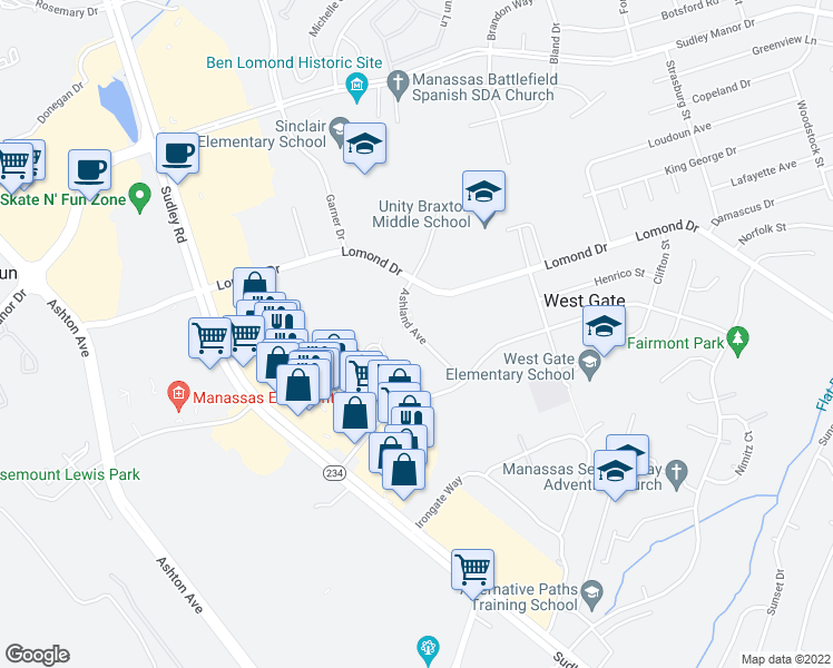 map of restaurants, bars, coffee shops, grocery stores, and more near 10131 Lomond Drive in Manassas