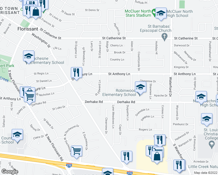 map of restaurants, bars, coffee shops, grocery stores, and more near 90 Taney Drive in Florissant