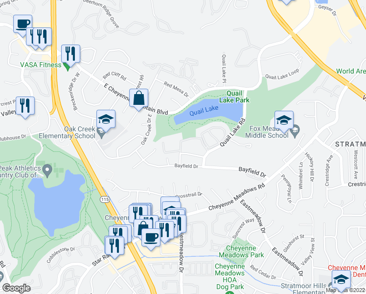map of restaurants, bars, coffee shops, grocery stores, and more near 890 Quail Lake Circle in Colorado Springs