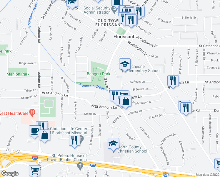 map of restaurants, bars, coffee shops, grocery stores, and more near 300 South New Florissant Road in Florissant