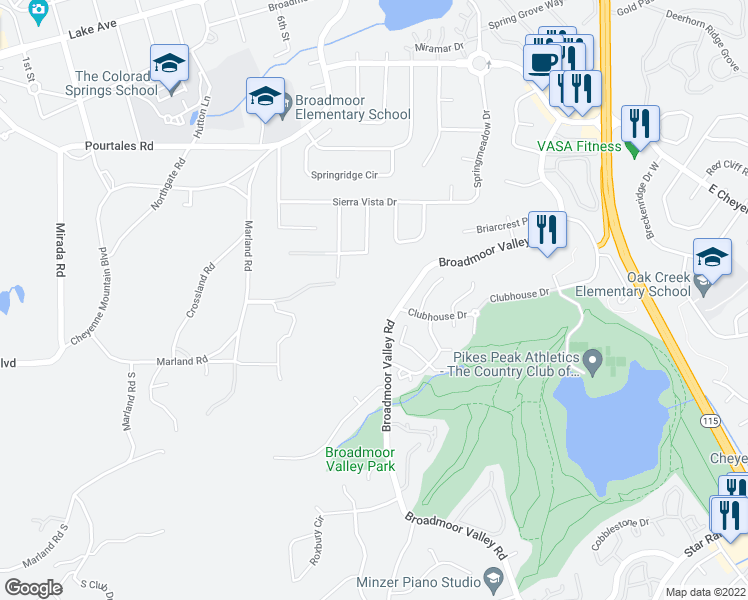 map of restaurants, bars, coffee shops, grocery stores, and more near 3470 Broadmoor Valley Road in Colorado Springs