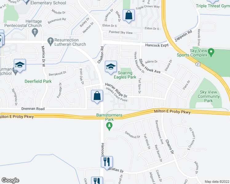 map of restaurants, bars, coffee shops, grocery stores, and more near 4843 Harrier Ridge Drive in Colorado Springs