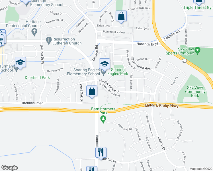 map of restaurants, bars, coffee shops, grocery stores, and more near 4831 Harrier Ridge Drive in Colorado Springs