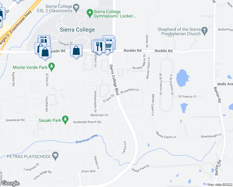 map of restaurants, bars, coffee shops, grocery stores, and more near Sierra College Boulevard & El Don Drive in Rocklin