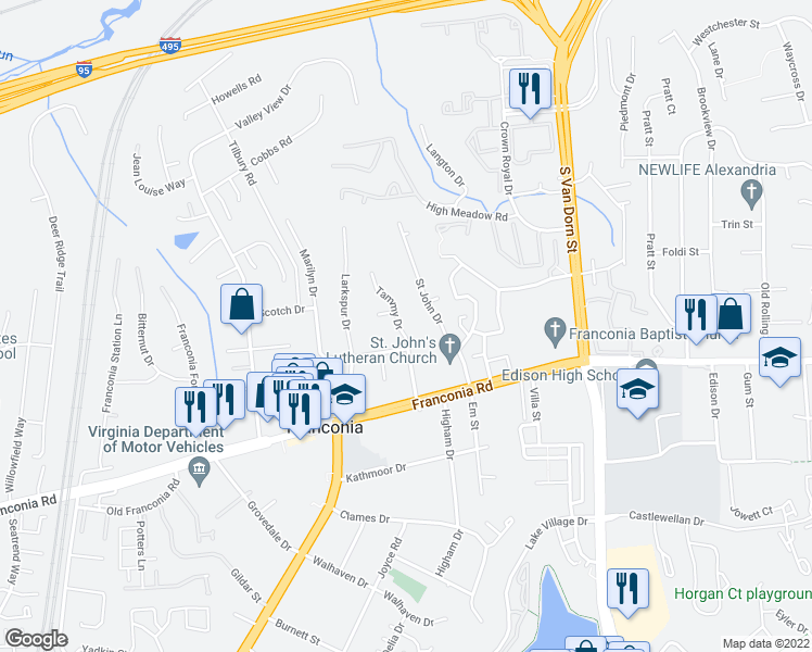 map of restaurants, bars, coffee shops, grocery stores, and more near 6103 Tammy Drive in Alexandria