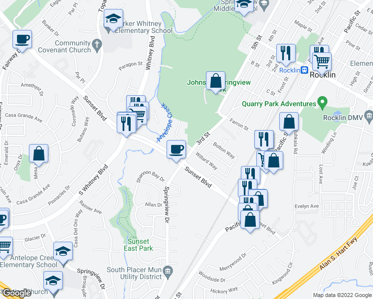 map of restaurants, bars, coffee shops, grocery stores, and more near 3300 Parkside Drive in Rocklin