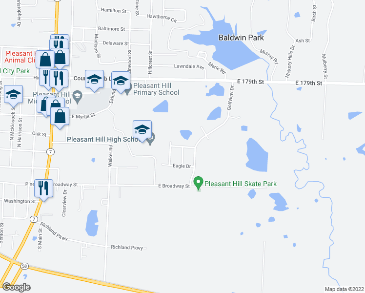 map of restaurants, bars, coffee shops, grocery stores, and more near 1517 Champion Drive in Pleasant Hill