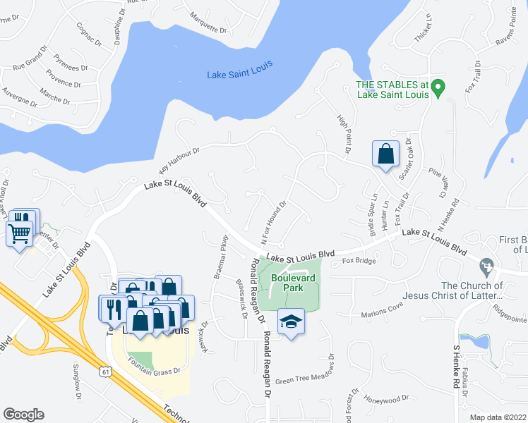 map of restaurants, bars, coffee shops, grocery stores, and more near Nautica Lane in Lake Saint Louis