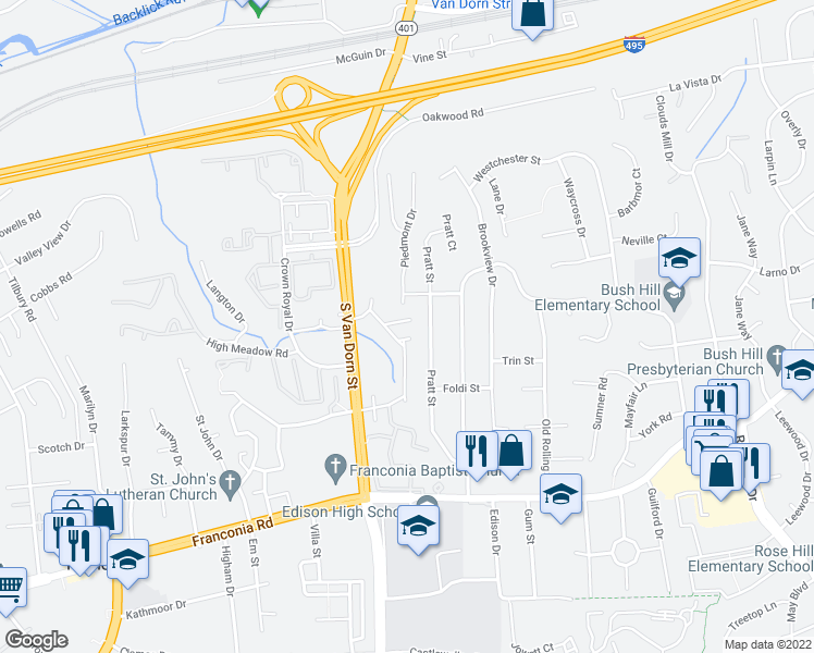 map of restaurants, bars, coffee shops, grocery stores, and more near 5807 Iron Willow Court in Alexandria