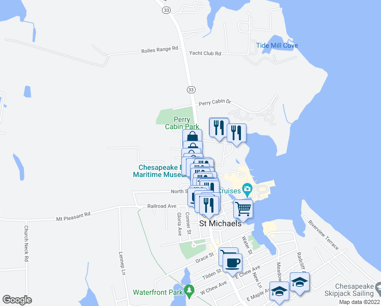 map of restaurants, bars, coffee shops, grocery stores, and more near 113 Mitchell Street in Saint Michaels