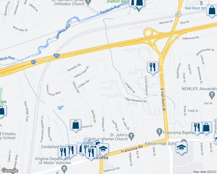 map of restaurants, bars, coffee shops, grocery stores, and more near 6153 Castletown Way in Alexandria