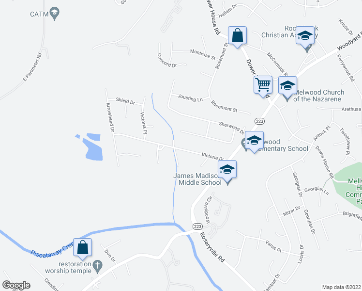 map of restaurants, bars, coffee shops, grocery stores, and more near 9504 Victoria Drive in Upper Marlboro