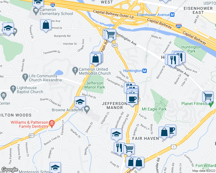 map of restaurants, bars, coffee shops, grocery stores, and more near 5837 Edgehill Drive in Alexandria