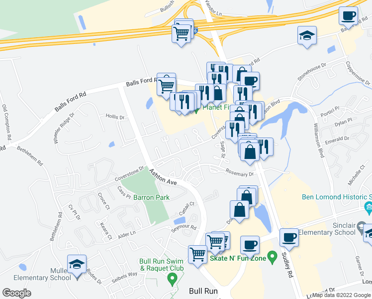 map of restaurants, bars, coffee shops, grocery stores, and more near Buttercup Place in Manassas