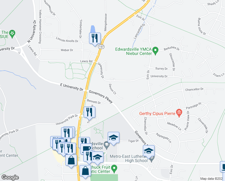 map of restaurants, bars, coffee shops, grocery stores, and more near 32 Devon Court in Edwardsville