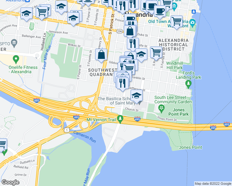 map of restaurants, bars, coffee shops, grocery stores, and more near 808 Green Street in Alexandria