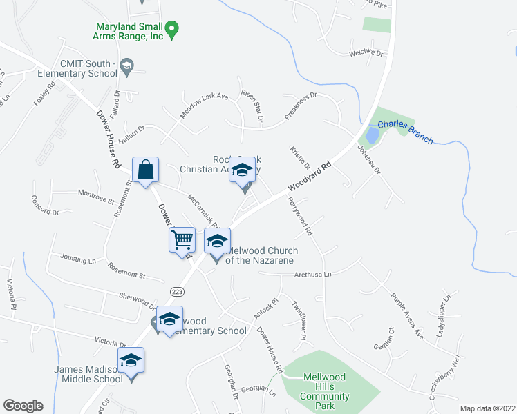 map of restaurants, bars, coffee shops, grocery stores, and more near 6751-6809 Woodyard Road in Upper Marlboro