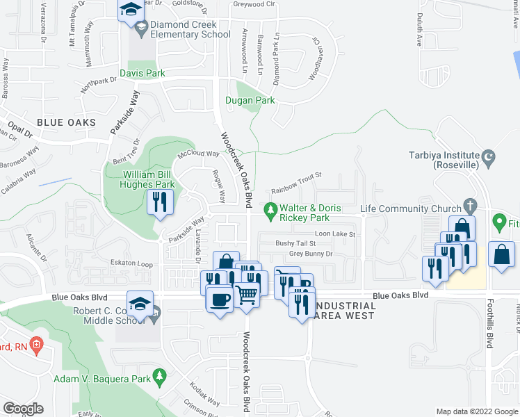 map of restaurants, bars, coffee shops, grocery stores, and more near 117 Briar Patch Ct in Roseville